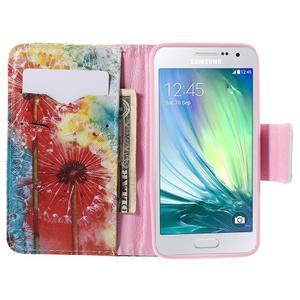 Peňaženkové púzdro na Samsung Galaxy A3 - malované púpavy - 6