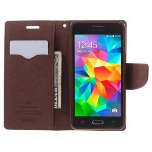 Diary PU kožené puzdro pre mobil Samsung Galaxy Grand Prime - čierne/hnedé - 6