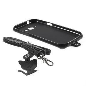 Obal s koženkovým chrbtom a mačičkou Domi pre Samsung Galaxy J1 -  čierne - 6