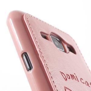 Obal s koženkovým chrbtom a mačičkou Domi pre Samsung Galaxy J1 -  ružová - 6