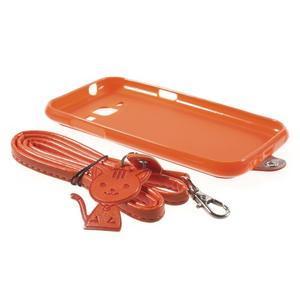 Obal s koženkovým chrbtom a mačičkou Domi pre Samsung Galaxy J1 -  oranžový - 6