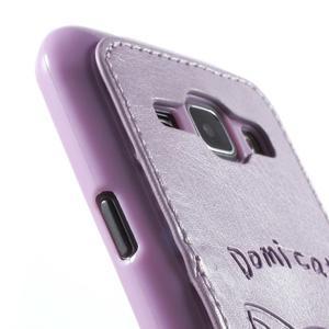 Obal s koženkovým chrbtom a mačičkou Domi pre Samsung Galaxy J1 - fialový - 6