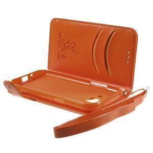 Koženkové puzdro s mačičkou Domi na Samsung Galaxy J1 - oranžové - 6