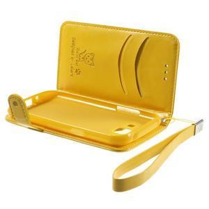 Koženkové puzdro s mačičkou Domi na Samsung Galaxy J1 - žlté - 6