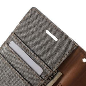 Luxury textilní/pu kožené puzdro na Samsung Galaxy J5 - šedé - 6