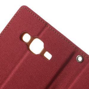 Luxury textilní/pu kožené puzdro na Samsung Galaxy J5 - červené - 6