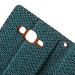 Luxury textilní/pu kožené puzdro na Samsung Galaxy J5 - zelenomodré - 6