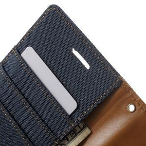 Luxury textilní/pu kožené puzdro na Samsung Galaxy J5 -  tmavomodré - 6