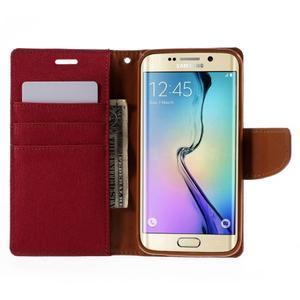 Luxury textilné / koženkové puzdro pre Samsung Galaxy S6 Edge - červené - 6