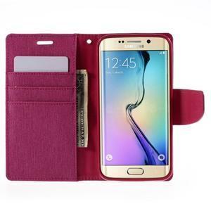 Luxury textilné / koženkové puzdro pre Samsung Galaxy S6 Edge - rose - 6