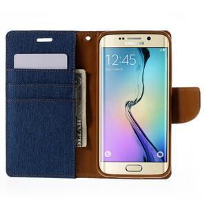 Luxury textilné / koženkové puzdro pre Samsung Galaxy S6 Edge - modré - 6