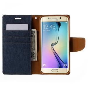 Luxury textilné / koženkové puzdro pre Samsung Galaxy S6 Edge - jeans - 6