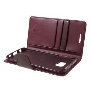 Wallet PU kožené puzdro pre Samsung Galaxy S6 Edge G925 -  vínové - 6