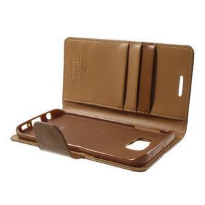 Wallet PU kožené puzdro na Samsung Galaxy S6 Edge G925 -  hnedé - 6