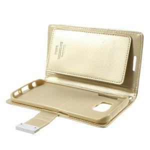 Wallet PU kožené puzdro na Samsung Galaxy S6 Edge G925 - champagne - 6