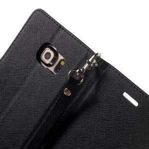 Diary PU kožené puzdro na Samsung Galaxy S6 Edge - čierne - 6
