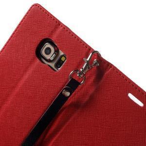 Diary PU kožené puzdro pre Samsung Galaxy S6 Edge - červené - 6
