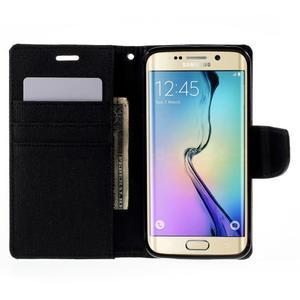 Luxury textilné / koženkové puzdro pre Samsung Galaxy S6 Edge - čierne - 6