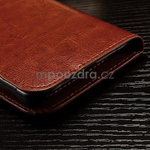 Koženkové peňaženkové puzdro pre Samsung Galaxy Xcover 3 - hnedé - 6