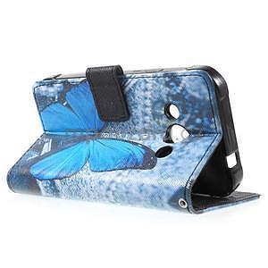 Štýlové peňaženkové puzdro pre Samsung Galaxy Xcover 3 - modrý motýľ - 6