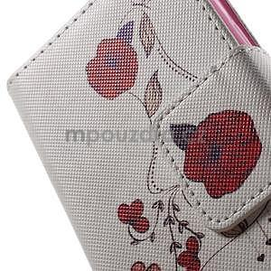 Vzorové peňaženkové puzdro na Samsung Galaxy Xcover 3 - červené kvety - 6