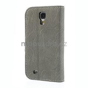 PU kožené peňaženkové puzdro pre Samsung Galaxy S4 - šedé - 6