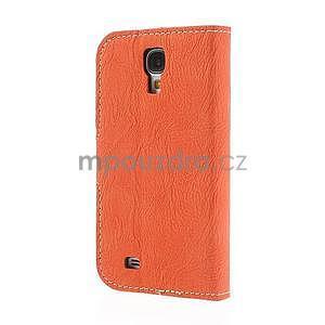 PU kožené peňaženkové puzdro pre Samsung Galaxy S4 - oranžové - 6