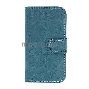 PU kožené peněženkové pouzdro na Samsung Galaxy S4 - modré - 6