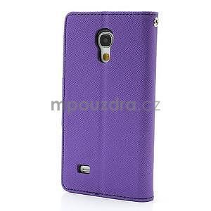 PU kožené peněženkové pouzdro na Samsung Galaxy S4 mini - fialové - 6