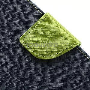 PU kožené peňaženkové puzdro pre Samsung Galaxy S4 mini - tmavo modré - 6