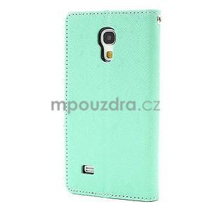 PU kožené peněženkové pouzdro na Samsung Galaxy S4 mini - cyan - 6