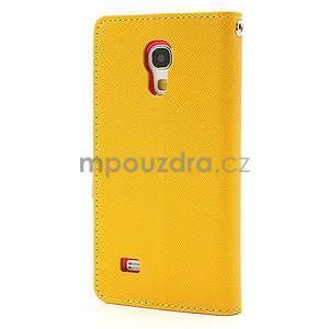 PU kožené peněženkové pouzdro na Samsung Galaxy S4 mini - žluté - 6