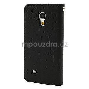PU kožené peňaženkové puzdro pre Samsung Galaxy S4 mini - čierne - 6