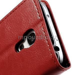 Peňaženkové kožené puzdro na Samsung Galaxy S4 mini - červené - 6