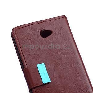 Peněženkové PU kožené pouzdro Sony Xperia E4 - tmavě hnědé - 6
