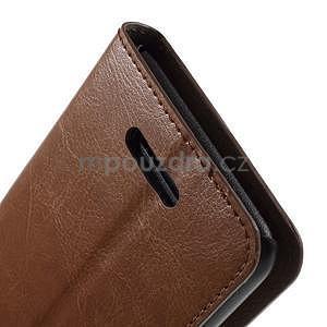 PU kožené peňaženkové puzdro pre mobil Sony Xperia E4 - hnedé - 6