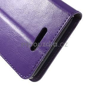 PU kožené peňaženkové puzdro pre mobil Sony Xperia E4 - fialové - 6