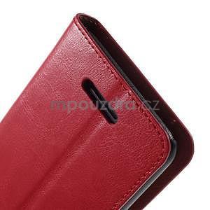 PU kožené peňaženkové puzdro pre mobil Sony Xperia E4 - červené - 6