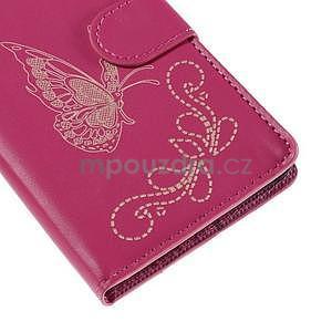 Peněženkové pouzdro s motýlkem na Sony Xperia E4 - rose - 6