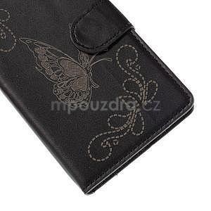 Peněženkové pouzdro s motýlkem na Sony Xperia E4 - černé - 6