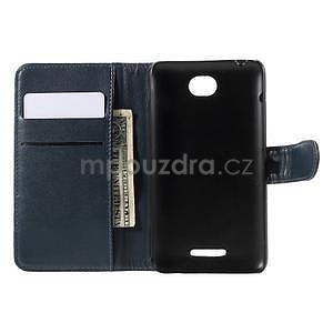 Peněženkové PU kožené pouzdro na Sony Experia E4 - tmavě modré - 6