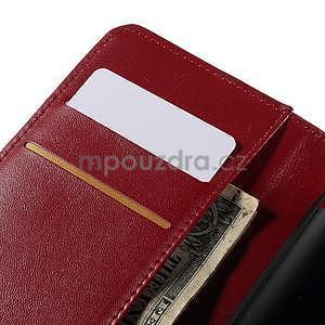 Peňaženkové PU kožené puzdro pre Sony Experia E4 - červené - 6