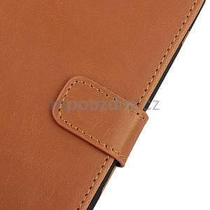 PU kožené PU Peňaženkové puzdro pre Sony Xperia E4 - hnedé - 6