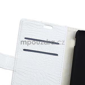 Puzdro s krokodýlím vzorem na Sony Xperia E4 - bílé - 6