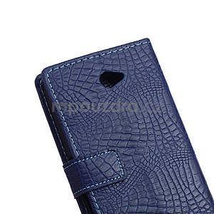 Puzdro s krokodýlím vzorem na Sony Xperia E4 - tmavě modré - 6