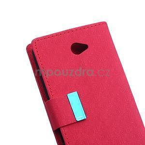 Vzorované peňaženkové puzdro pre Sony Xperia E4 - červené - 6