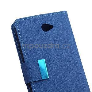Vzorované pěněženkové pouzdro na Sony Xperia E4 - modré - 6