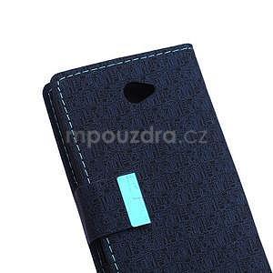 Vzorované peňaženkové puzdro pre Sony Xperia E4 - tmavomodré - 6