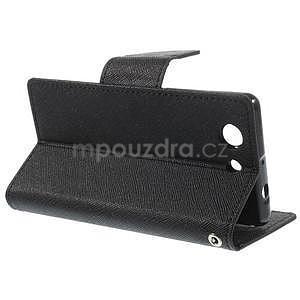 PU kožené peněženkové pouzdro na Sony Z3 Compact - černé - 6