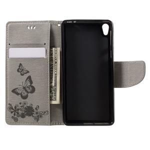 Butterfly PU kožené puzdro na Sony Xperia E5 - šedé - 6